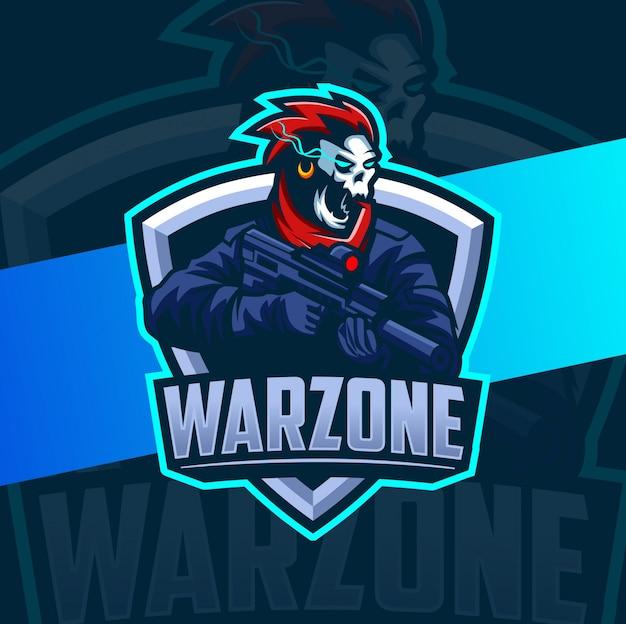 Équipe de l'armée du crâne avec mascotte de pistolet esport logo
