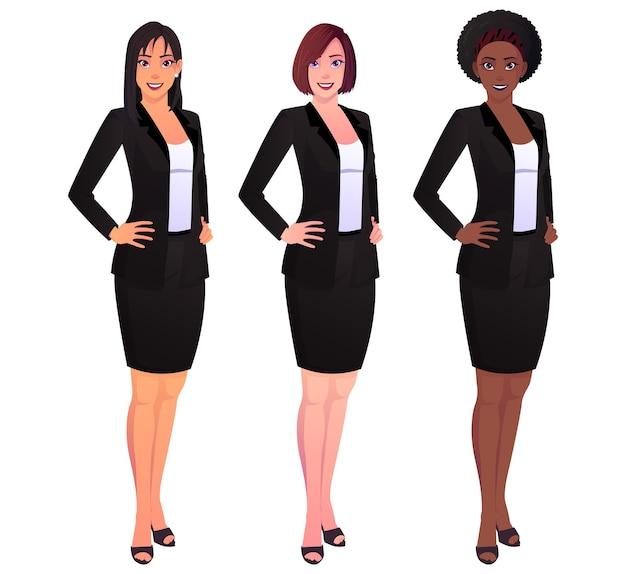 Équipe de belles femmes d'affaires main sur la taille isolée