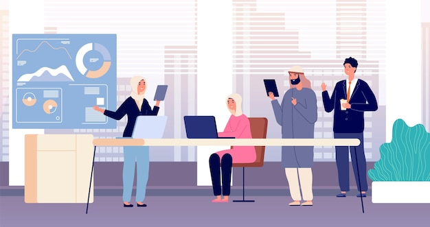Équipe de bureau. réunion d'affaires internationale, réunion de partenaires. travailleurs arabes, femmes musulmanes au travail. illustration vectorielle d'enseignement en entreprise. réunion d'équipe et de partenariat, travail d'équipe