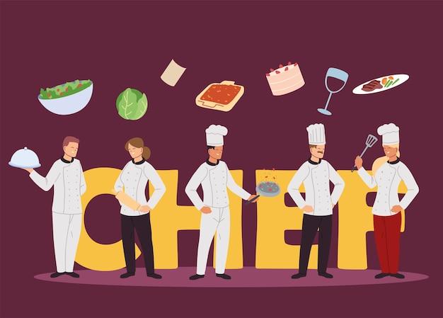 Équipe de chefs avec conception d'illustration de service de cuisine