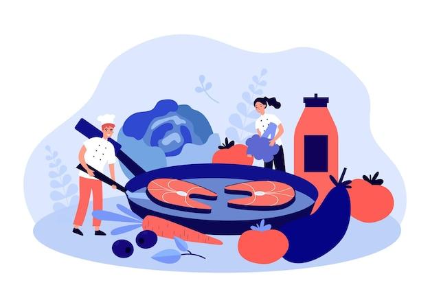 Équipe de chefs cuisinant du poisson et des légumes dans une casserole. classe de maître alimentaire à partir d'une illustration vectorielle à plat de petits personnages. recette en ligne, concept de cours de cuisine pour bannière, conception de site web ou page web de destination