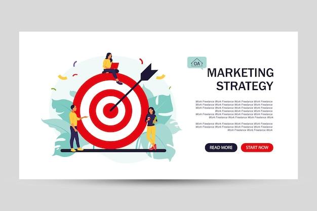 L'équipe commerciale atteint l'objectif. page de destination pour le web. concept de stratégie marketing. les gens s'approchent d'une énorme cible avec une flèche. illustration vectorielle. appartement isolé.