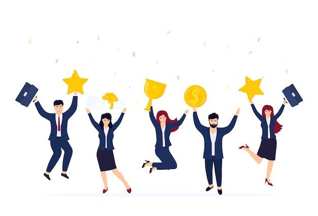 L'équipe commerciale célèbre le succès. employés de bureau heureux en saut.
