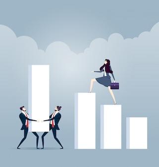 Équipe commerciale construire un diagramme de diagramme financier - concept d'entreprise
