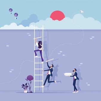 L'équipe commerciale construit un escalier vers le succès - concept de travail d'équipe