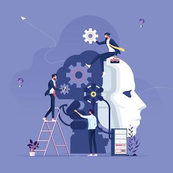 Équipe commerciale créant l'intelligence artificielle