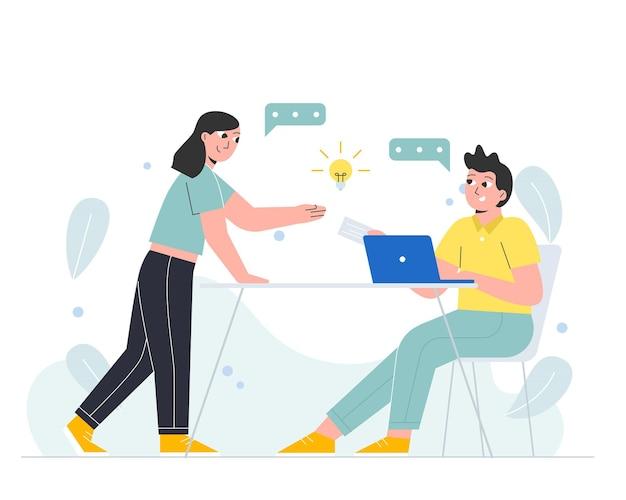 Équipe commerciale discutant des idées de démarrage