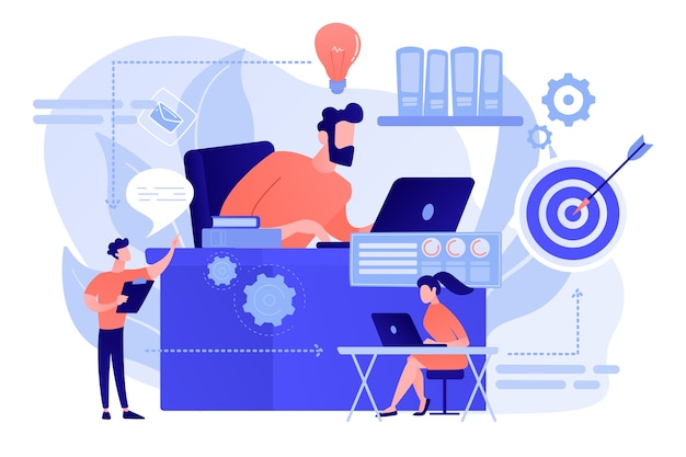 Équipe commerciale et étapes du processus de travail de l'idée à la cible. flux de travail d'entreprise, efficacité des processus métier, concept de modèle d'activité de travail. illustration isolée de bleu corail rose