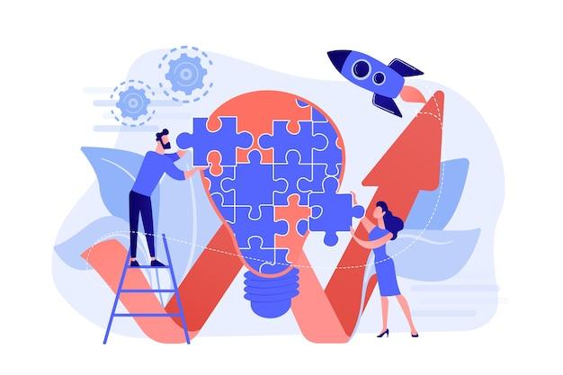 Équipe commerciale faisant ampoule de puzzle et flèche montante. idée créative et perspicacité, notion, concept d'invention sur fond blanc.