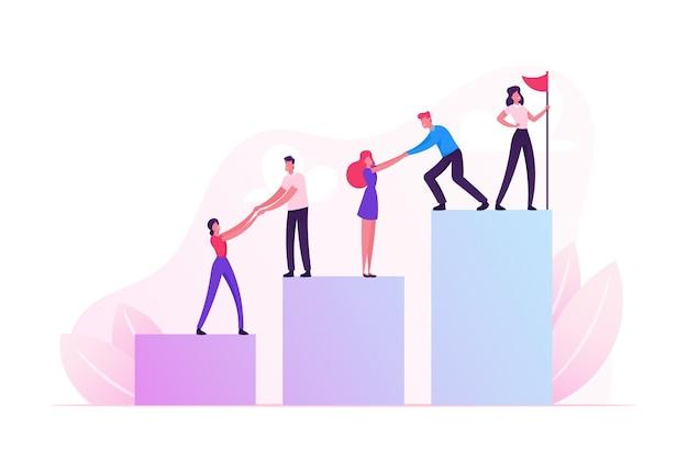 Équipe commerciale grimper le graphique à colonnes avec support de leader avec drapeau rouge hissé sur le dessus. illustration plate de dessin animé