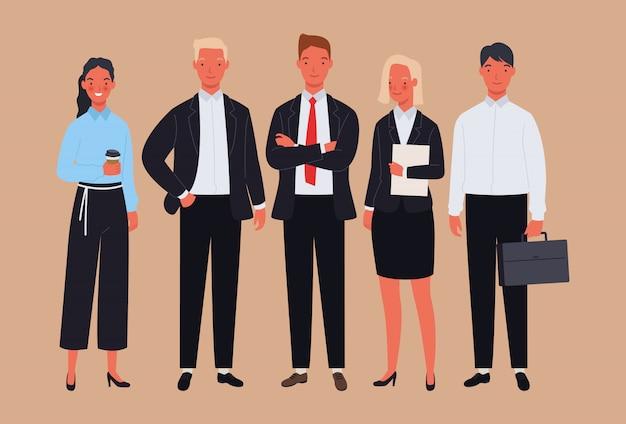 Équipe commerciale. homme d'affaires et femmes en costume de caractère.