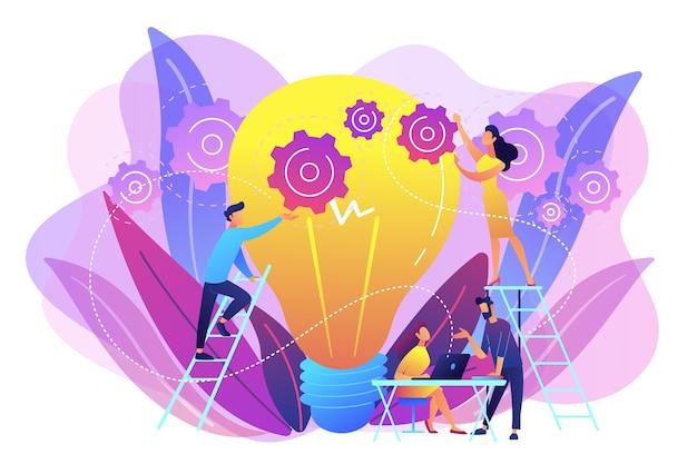 Équipe commerciale mettant des engrenages sur une grosse ampoule. nouvelle ingénierie d'idée, innovation de modèle d'entreprise et concept de pensée design