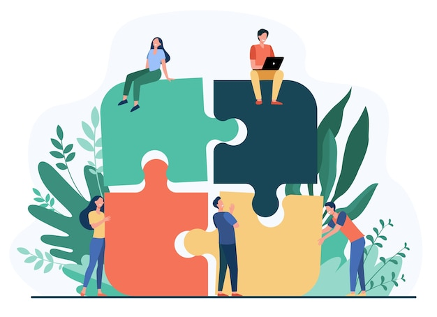 Équipe commerciale mettant ensemble jigsaw puzzle isolé illustration vectorielle plane. partenaires de dessin animé travaillant en connexion. concept de travail d'équipe, de partenariat et de coopération