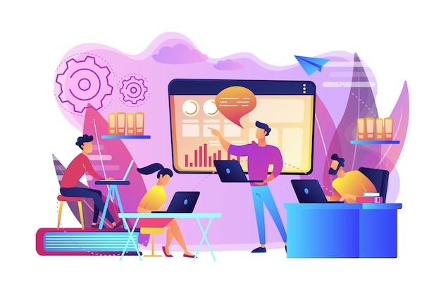 L'équipe commerciale avec des ordinateurs portables regarde la présentation numérique avec des graphiques. présentation numérique, réunion en ligne de bureau, concept de représentation visuelle des données. illustration isolée violette vibrante lumineuse