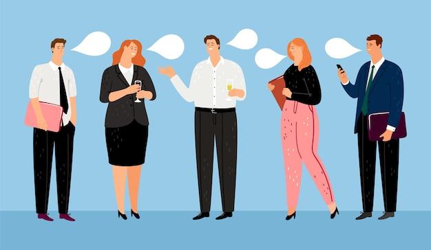 Équipe commerciale. personnages de gestionnaires heureux
