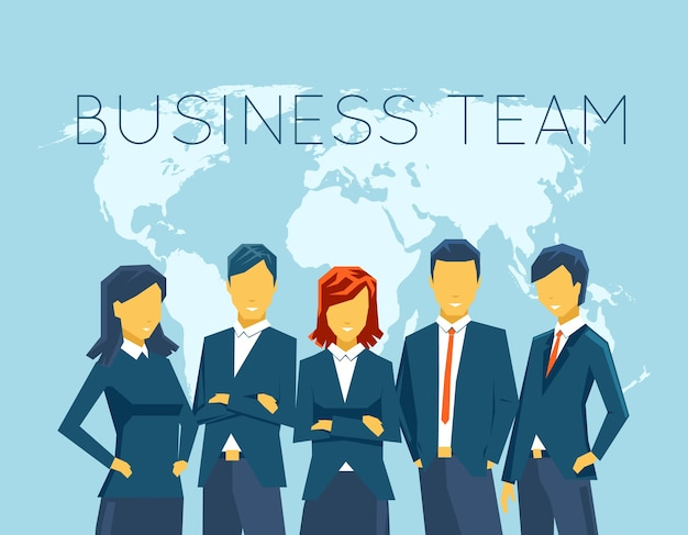 Équipe commerciale, ressources humaines. gens et personne, communication, femme d'affaires et homme d'affaires, bureau de réunion. illustration vectorielle