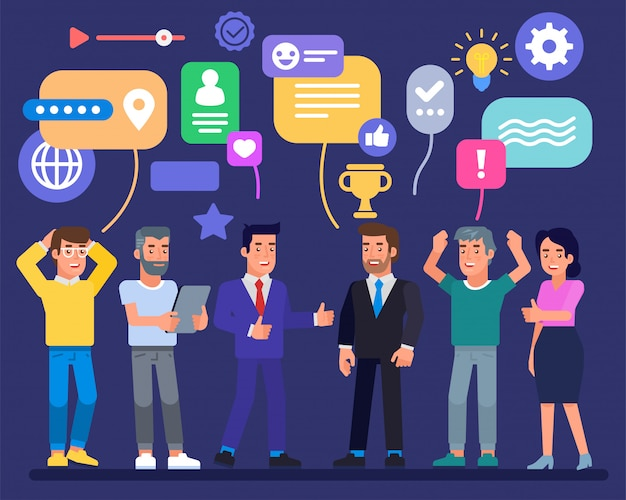 Équipe commerciale réussie avec icône de trophée et bulles de discours réalisations de l'entreprise hommes d'affaires les employés travaillent en collaboration pour réaliser une bonne idée. unité au pouvoir transformer la crise en opportunité
