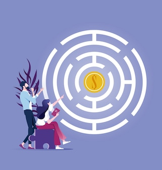 Une équipe commerciale tente d'obtenir de l'argent dans un labyrinthe