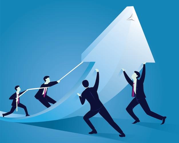 L'équipe commerciale travaille pour atteindre le succès ensemble