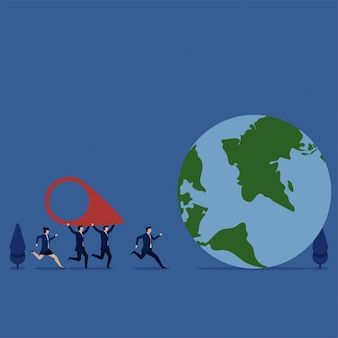 L'équipe de concept d'entreprise illustration plate apporte l'icône de localisation à la métaphore du globe de nous sommes en mouvement.