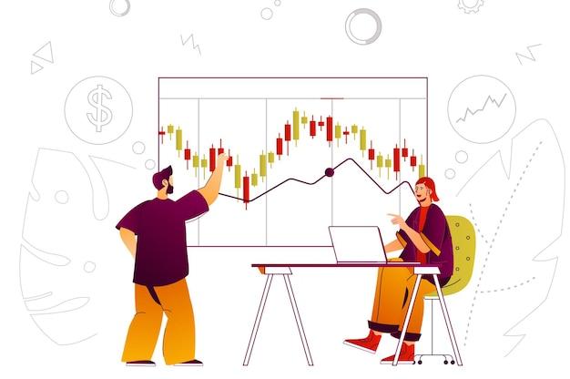 Équipe de concept web marché boursier analysant les données financières graphique trading de devises