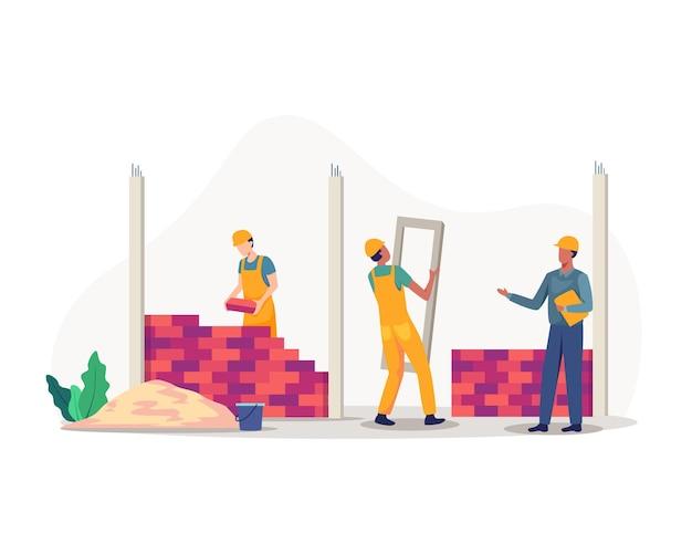 Équipe de constructeurs professionnels construisant une maison d'habitation. dans un style plat