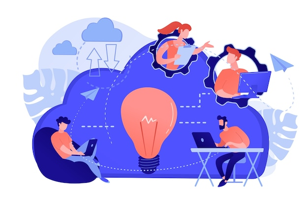Équipe de coworking d'utilisateurs connectés par cloud computing et ampoule. collaboration en ligne, gestion d'entreprise à distance, concept de service informatique sans fil. illustration vectorielle isolée.