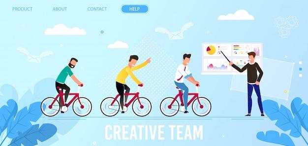 Équipe créative et page d'atterrissage des entreprises de leadership