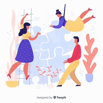 Équipe dessiné main faisant puzzle fond