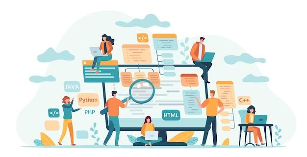 Équipe de développement du programme. les développeurs web ou logiciels, le programmeur et l'ingénieur de codage travaillent en groupe. les informaticiens écrivent le concept de vecteur de code. équipe de développement de la programmation d'illustrations