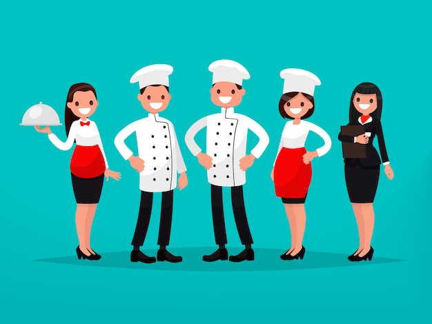 Équipe du restaurant. chef, cuisinier, gestionnaire, serveur.
