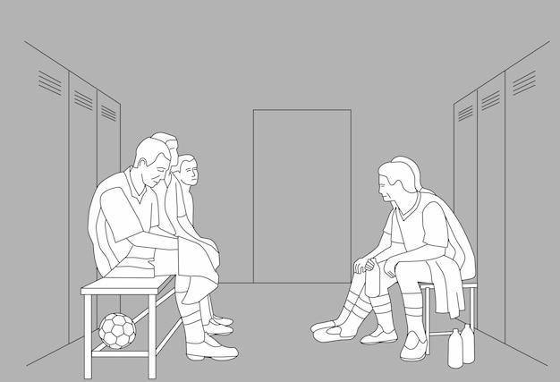 L'équipe du vestiaire de l'équipe est assise dans le vestiaire. illustration vectorielle noir sur fond gris