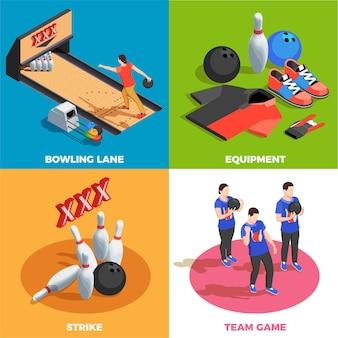 Équipe d'équipement de bowling des joueurs et concept isométrique de grève de position de jeu isolé
