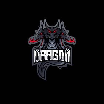 Équipe esport de conception de logo de mascotte de dragon