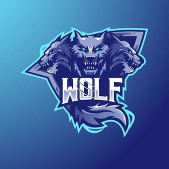 Équipe d'esport de conception de logo de mascotte de loup