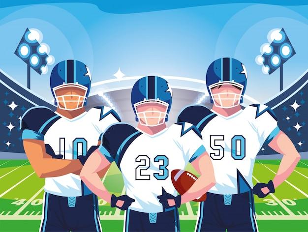 Équipe de footballeurs de rugby, sportifs en uniforme