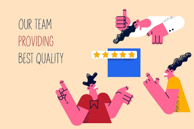Équipe fournissant le meilleur concept de qualité