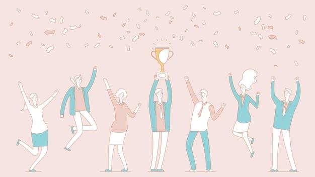 Équipe gagnante. homme d'affaires avec coupe d'or. chef d'équipe, patron professionnel et employés heureux. gagner le prix, les gens célébrant la victoire