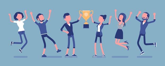 Équipe gagnante avec trophée d'affaires. des employés heureux qui ont remporté une compétition de formation et d'entraînement, une victoire au championnat d'entreprise. illustration vectorielle avec des personnages sans visage