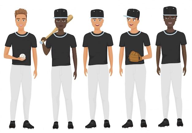 Équipe de gars de baseball école plate en uniforme isolé.