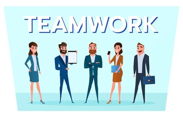 Équipe de gens d'affaires avec des gadgets de travail