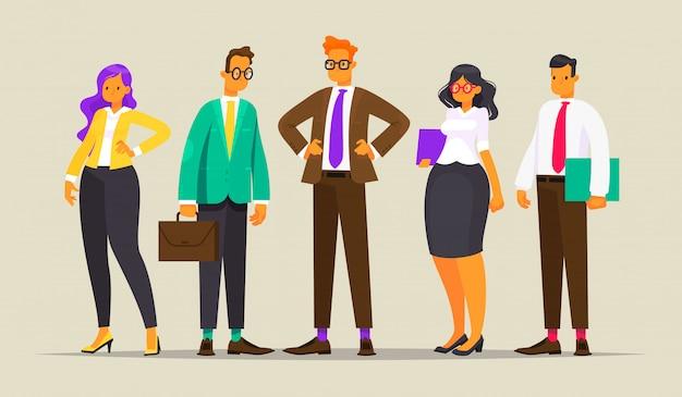 Équipe de gens d'affaires prospères, illustration dans un style plat