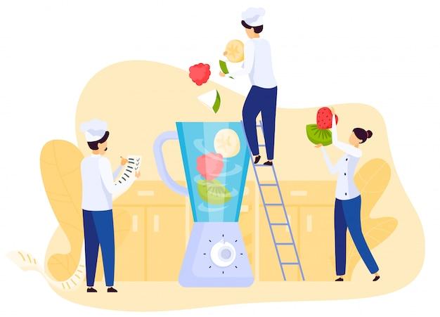 L'équipe de gens du restaurant cuisine smoothie aux fruits, mélange des ingrédients dans un mélangeur, illustration