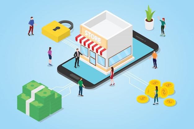 Équipe de gens hommes femme avec magasins construisant sur l'application smartphone