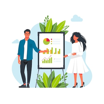 Équipe de gestion debout près du tableau noir faisant une présentation. indique et explique le schéma, donne le rapport. stratégie de planification de présentation d'entreprise. illustration vectorielle