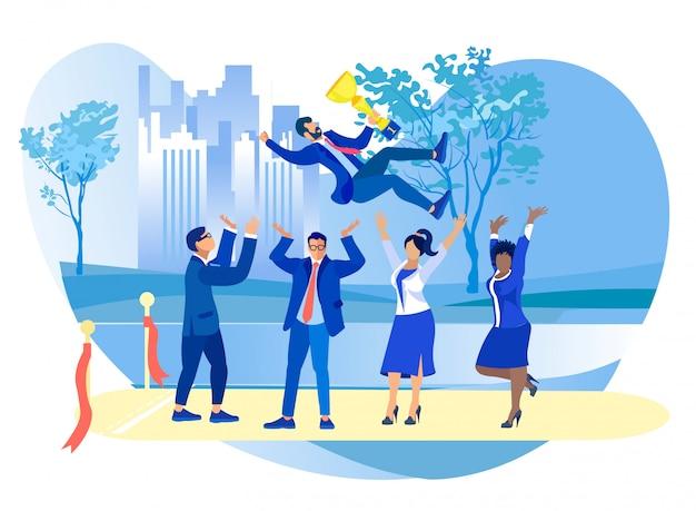 Équipe d'hommes d'affaires jetant dans l'air collègue avec coupe