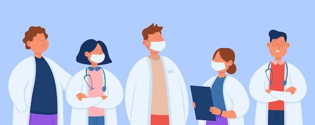 Équipe hospitalière professionnelle de dessin animé de médecins. illustration plate