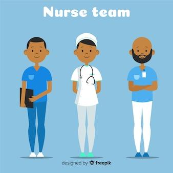 Équipe infirmière plate
