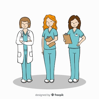 Équipe d'infirmières dessinées à la main