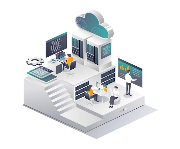 Équipe informatique et développeurs d'applications web et smartphone